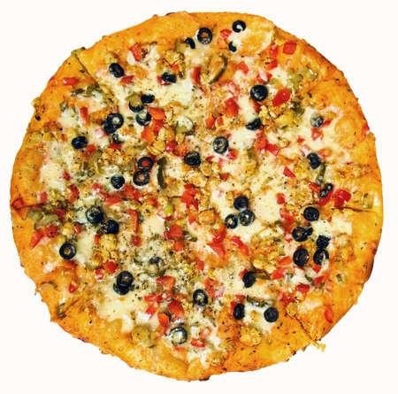 Pizza ronde isolée Banque d'images - 5719058