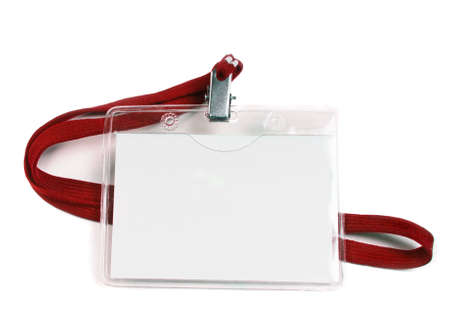 blank business badge isolated on white Archivio Fotografico