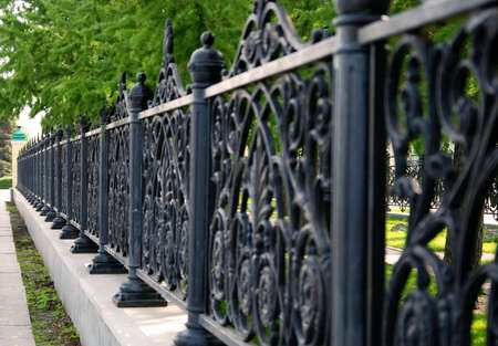 Steel park fence Stock Photo - 5813454