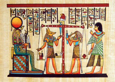 scribes: Papyrus with elements of egyptian ancient history