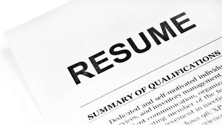 Resume application paper form on white 스톡 콘텐츠