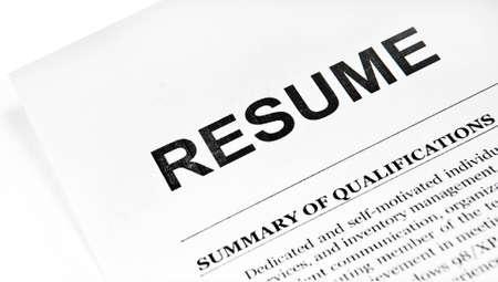 Resume application paper form on white Standard-Bild