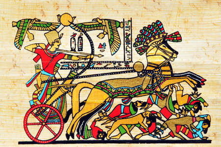 Papyrus with elements of egyptian ancient history photo