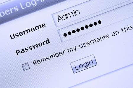 Web site login procedure entrance 스톡 콘텐츠