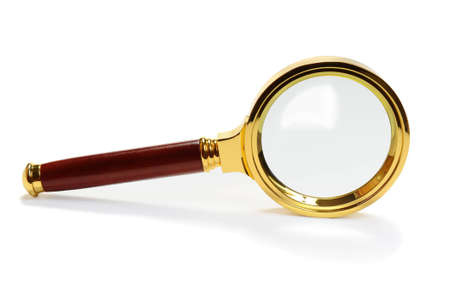 magnification: Metal magnifying glass over white background.