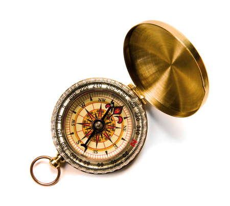 Antique compass on white background 스톡 콘텐츠