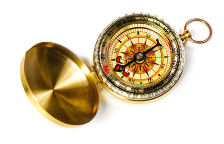 magnetic north: old-fshioned magnetic compass over white background Stock Photo