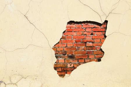 estuco: Antigua fragmento de pared desgastada ladrillo y estuco
