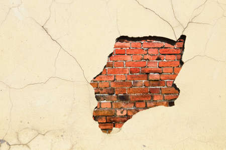 stucco wall: Old weathered brick and stucco wall fragment Stock Photo