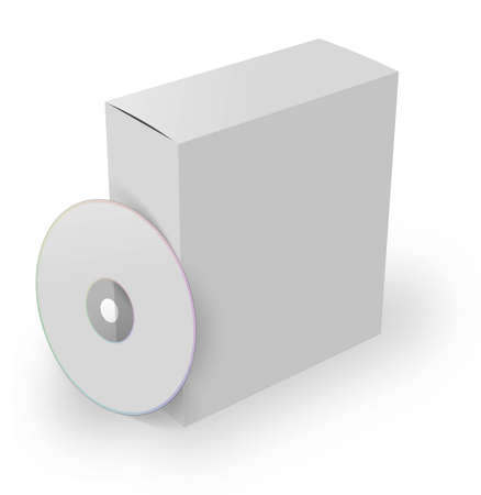 ebox: 3d software box with dvd, isolated on a white background  Stock Photo