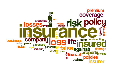 保険の単語雲の概念図 写真素材
