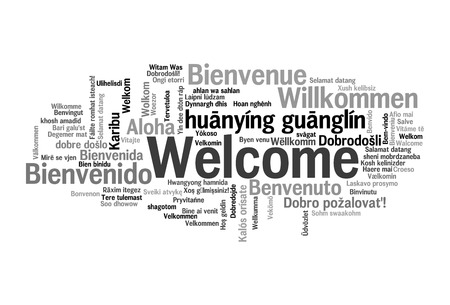 Welcome phrase in 78 different languages. Words cloud concept Standard-Bild