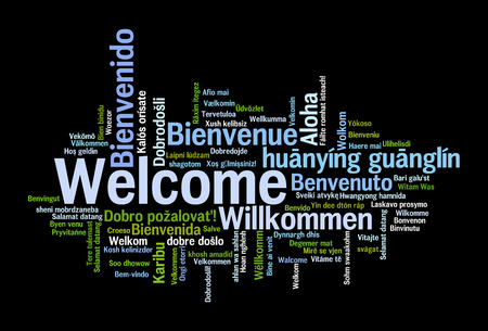 Welcome phrase in 78 different languages. Words cloud concept Archivio Fotografico