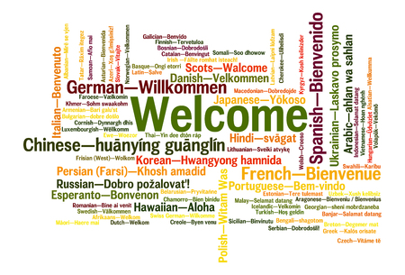 Welcome phrase in 78 different languages. Words cloud concept Banco de Imagens