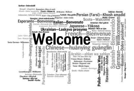 78 の異なる言語でのフレーズを歓迎します。言葉の雲の概念 写真素材