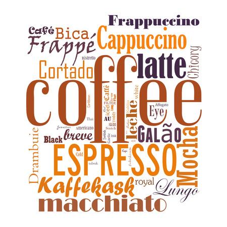 コーヒー、エスプレッソ、カプチーノ、マキアート、単語雲、タグ クラウド テキスト ビジネス コンセプト。単語のコラージュ