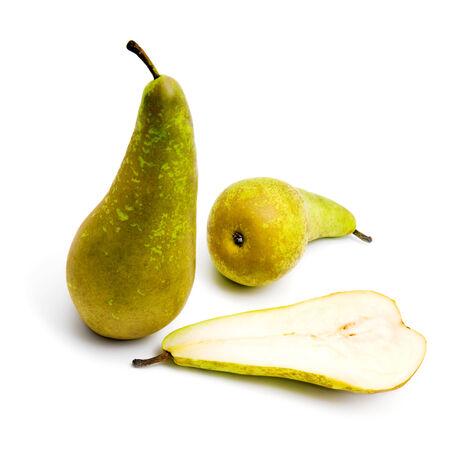 Kleine groep van peren (conferentie) op een witte achtergrond Stockfoto