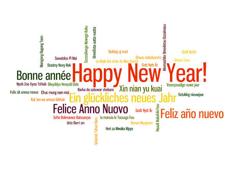 Happy New Year in different language. Words cloud Vetores