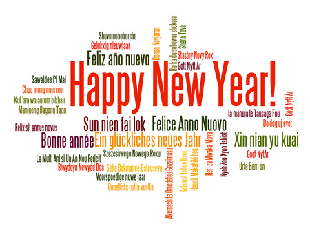 Happy New Year in different languages. Words cloud Ilustração