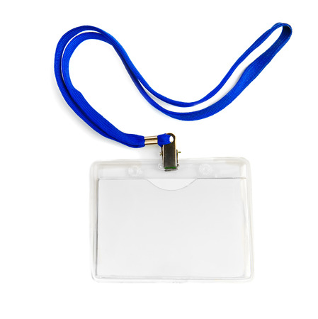 Name id card badge with cord (rope) isolated