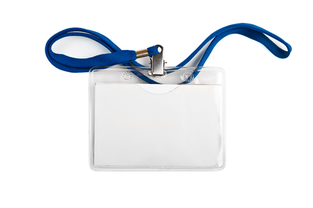 Badge identification white blank plastic id card  isolated Фото со стока