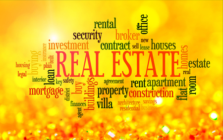 Buying home issues info-text word cloud on yellow golden background 스톡 콘텐츠