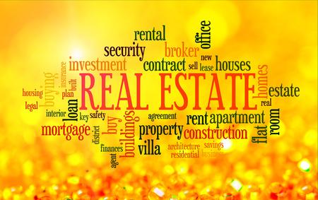 Het kopen van huis kwesties info-tekst word cloud op gele gouden achtergrond Stockfoto