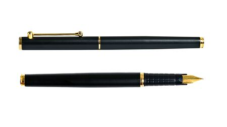 Elegance golden ink fountain pen isolated on white
