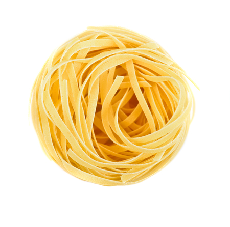 Nest pasta. View from top isolated on white background