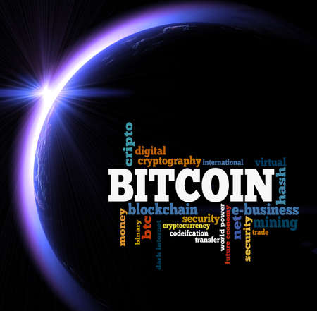 Bitcoin word cloud over sunrise in space