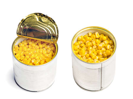 Open metall can with cooked corn isolated on white background