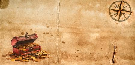 Stary arkusz pustego papieru grunge z różą kompasową i klatką piersiową z groźbami