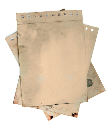 Old torn notepad papers on white background. Clipping path