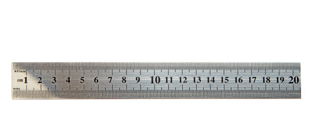 Metallic ruler, measuring tool. Office supply, school stationery. Isolated on white background Banque d'images - 118627874