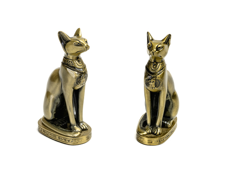 Egyptian cat statue toy souvenir isolated over white