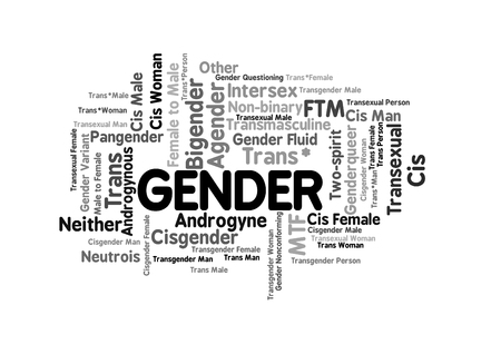 Gender Word Tag Cloud, shows words related to sex identification options and similar concepts, vector Illustration