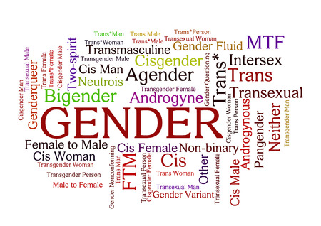 Gender Word Tag Cloud, shows words related to sex identification options and similar concepts, vector Vectores