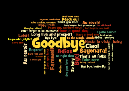 Goodbye Word Tag Cloud, shows words and phrases how to express feelings when say farewell, vector Vektorové ilustrace