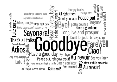 Goodbye Word Tag Cloud, shows words and phrases how to express feelings when say farewell, vector