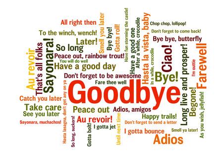 Goodbye Word Tag Cloud, pokazuje słowami i wyrażeniami, jak wyrażać uczucia podczas pożegnania, wektor