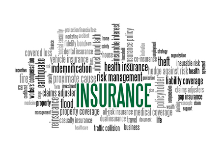 Insurance Word Tag Cloud, shows words related to risk management business, protection financial loss and similar concepts, vector