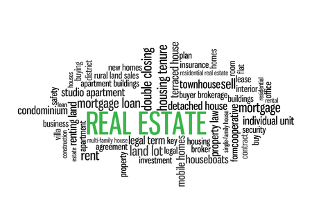 Real Estate Word Tag Cloud, shows words related to buy, sell or rent homes and similar concept, vector Stock Illustratie
