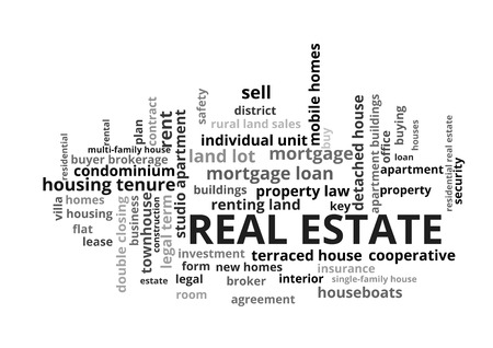 Real Estate Word Tag Cloud, shows words related to buy, sell or rent homes and similar concept, vector Illustration