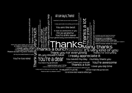 Many ways to say thank you word cloud