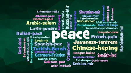 Peace Word Cloud, shows equivalents of Peace, how to say it in many languages, vector
