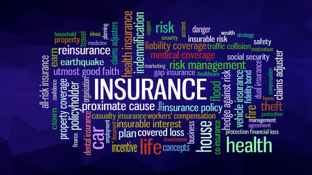 Insurance Word Cloud concept illustration, show words related to risk management business