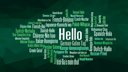 Hello word Cloud, concept illustration, shows equivalents of 'hello', how to say it in many languages, vector Vetores