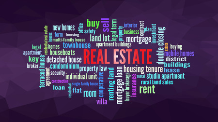 Real Estate Word Cloud, shows words related to property business concept, vector Illustration