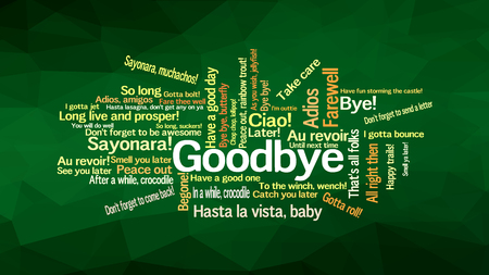 How to say GOODBYE in different way and languages, words collage vector illustration