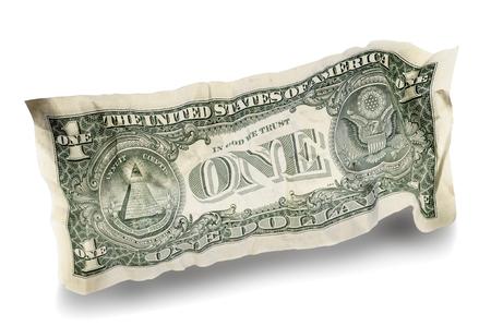 Jeden zmięty pomarszczony dolar na białym tle. Zawiera ścieżkę przycinającą